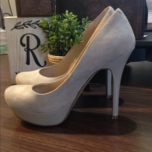 Jessica Simpson Nude Suede Platform Stiletto Heels